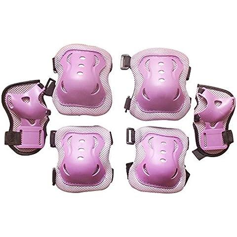 Eruner - Protectores de patinaje para muñecas, codos y rodillas para niños de 3 a 9 años (Pack de 6), violeta