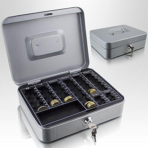 Geldkassette 25 cm groß abschließbar Münz Geld Zählbrett Kasse Safe Hellgrau 250mm x 200mm x 70mm (B/T/H)