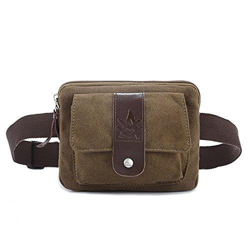 XNBAO Mode-Hüfttaschen Lustige Packung Lässige Sport Gürteltasche Crossbody Hüfttasche Braune Canvas Gürtelholster-Tasche Unisex (Farbe : Kaffee, größe : 19cm*15cm*3cm)