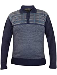 Hommes manches longues Collared Pull en maille Vintage Pocket Slim Fit Pull Top