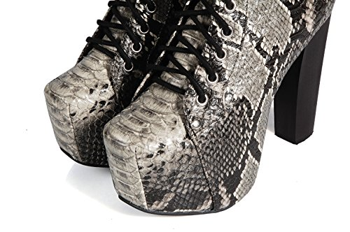 Jeffrey Campbell Lita Snake Grey ankle shoes high heel - Scapre serpente a stivaletto con tacco alto e platform Snake