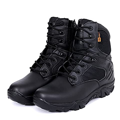 AngelaKerry Leather Army Combat Patrol Boots Tactical Cadet Military Security Police - Black/7.5 UK