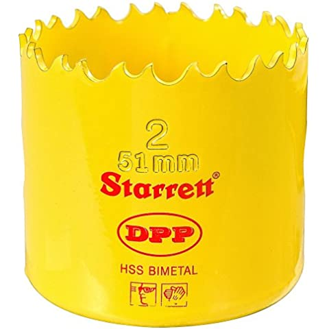 Starrett DH0200 - Corona perforadora (51 mm, acero rápido, paso doble, bimetal, profesional)