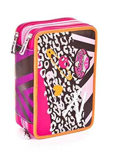 Seven astuccio scuola 3 scomparti - remix girl - rosa - pennarelli matite ecc. elementari e medie