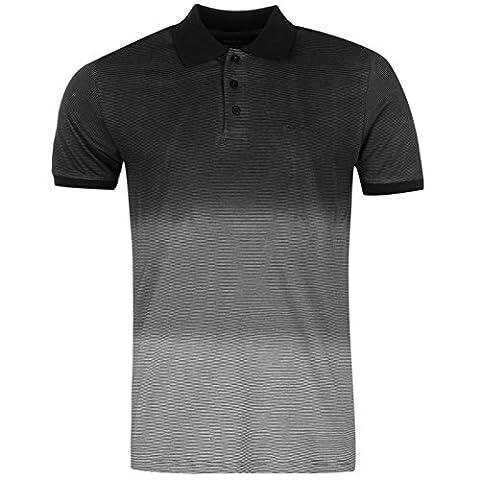 Pierre Cardin Hommes 100% Coton Court Sleeve Dip Colorant Polo Shirt Charcoal Blanc-XXL