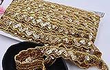 Lace Crafts - Costume Cosplay Costume écolo éco-responsable de 11 mètres 3D Argent Ruban de dentelle argentée pour accessoires de couture de robe de danse de scène - (Couleur: Or, Taille: 2cm)...