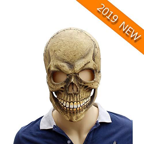 YVQO Skelett Schädel Geist Tod Halloween Maske Geeignet Dekoration Requisiten Cosplay Kostüm Party Kostüm Ostern (Skelett Für Erwachsene Kostüm Deluxe)