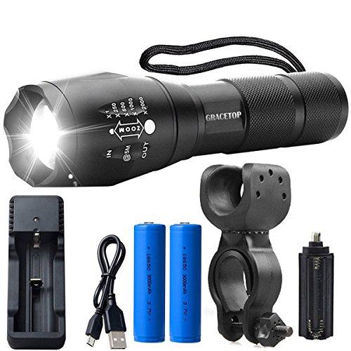Gracetop GT-XML-T6 Torcia LED ricaricabile, 5 modalità di Illuminazione, resistente all'acqua
