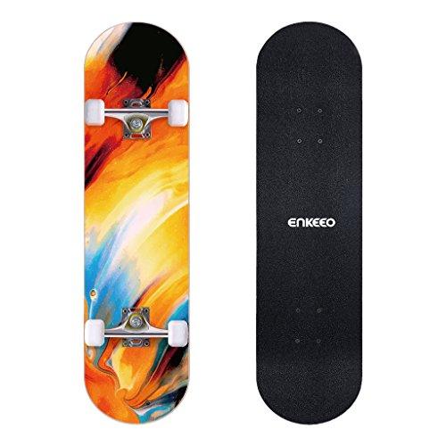 ENKEEO Skateboard Komplettboard 32 x 8 Zoll mit ABEC-9 Kugellager, Drop-Through Longboard Ahornholz Board, Belastung 220 PFD. (Ölgemälde)
