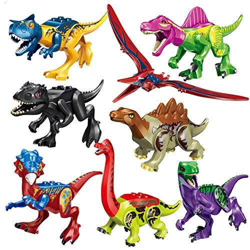 Househome 8 Tipos de Bloques de construcción de Dinosaurios de Colores, Juguetes de ensamblaje de Dinosaurios, Juguetes educativos para niños y Juguetes de Bricolaje compatibles con Lego.