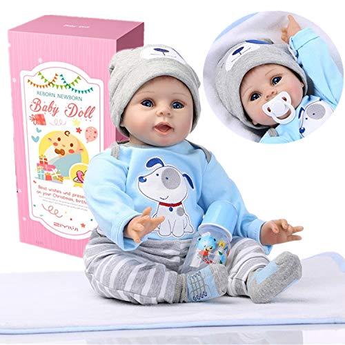 ZIYIUI Realiste 55cm Bebe Reborn Garcon Poupée Reborn Poupons Silicone Reborn Babys Doll Pas Cher Magnétisme Jouet Cadeaux 22 Pouce