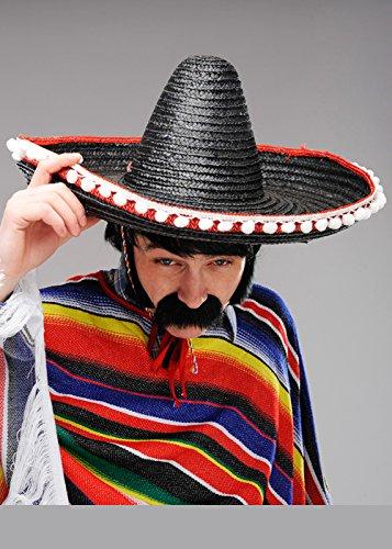 Sombrero mexicano para hombre de paja negra para adulto
