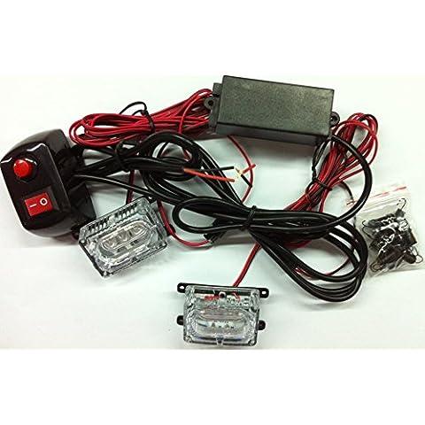 biaochi coche automático ultra slim LED 6modos de Flash 12V 4W peligro seguridad de emergencia Advertencia linterna parrilla Dash cubierta Barra de luz estroboscópica lámpara KM337