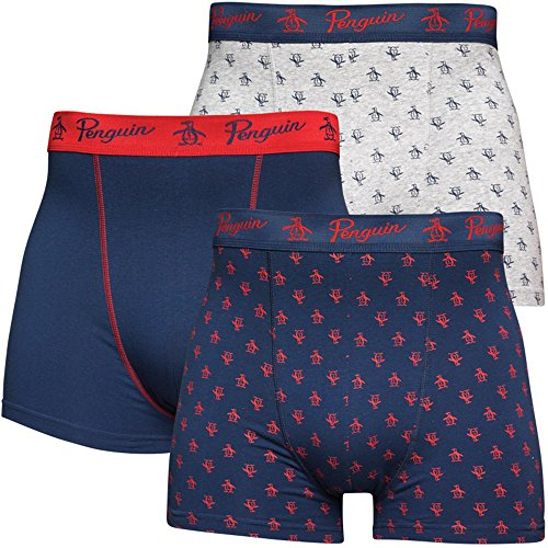 Original Penguin Herren Boxershort Grey Marl/Navy/Red