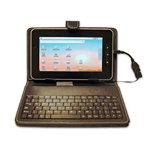 "New 7"" Inch Black Leather Look Case + USB Keyboard (including Micro USB adapter) With Free Stylus & Stand Feature For Protection Of Your 7"" Tablet PC ePad aPad Device"