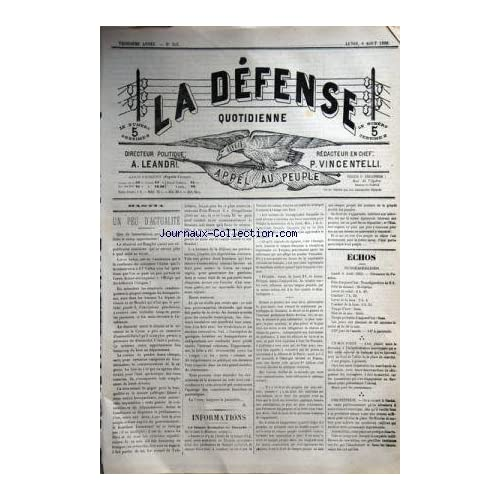 DEFENSE JOURNAL CORSE (LA) [No 303] du 06/08/1888 - QUE DE LAMENTATIONS QUE DE COLERES DANS LE CAMP OPPORTUNISTE -LA LANGUE FRANCAISE EN TURQUIE