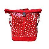 IKURI einseitige Fahrradtasche für Gepäckträger Satteltasche Einzeltasche Packtasche, abnehmbar, mit Klickfix Vario Haken, mit Tragegurt zum Umhängen, aus Wachstuch, wasserdicht, gepunktet, Modell Lunares rot