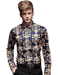 FANZHUAN Chemise Homme Luxe Sans Repassage Fantaisie Col Mao Vintage Slim Fit Baroque Manche Longue Vetement Mode