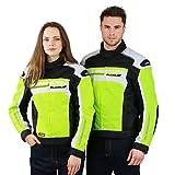 LeichteMotorradjacke mitProtektoren-X66- Roller Motorrad Jacke Herren Sommer Winter Textil Kurz MännerProtektorenjackeWasserdicht - Neon-Gelb-Grün-Weiß - XL