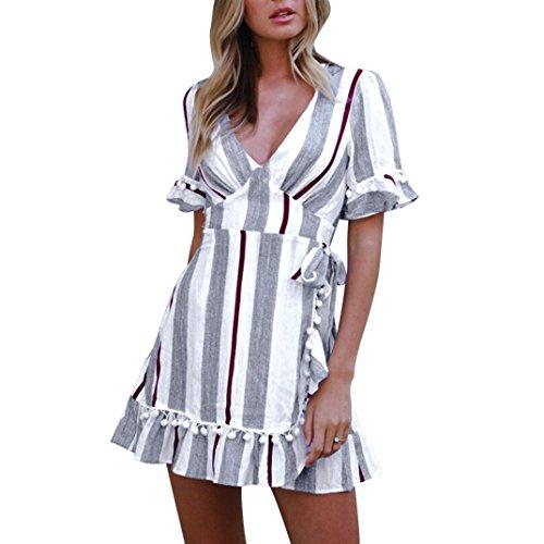 Kleid damen Kolylong Frauen Elegant Gestreiftes Kleid mit V-Ausschnitt Vintage Quaste Kurzarm...