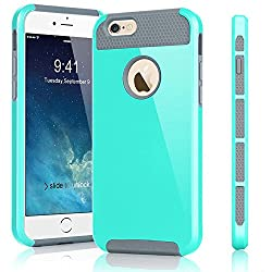 Febelle Shockproof Hybrid Rugged Rubber Protective Cover Case For Iphone55sse Turquoise+grey