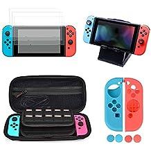 Kit de Accesorios para Nintendo Switch, moonlux Kit Protección para Nintendo Switch, Funda para Nintendo Swtich/Soporte Regulable / 3 Protector de pantalla/Funda de Silicona para Joy-Con