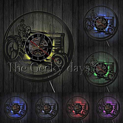 AIYOUBU 1 Stück Landwirt Auf Traktor Led-leuchten Traktor Personalisierte Wanduhr Vintage Schallplatte Uhr Dekorative Uhr Cropper GIF @ Mit Led