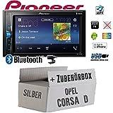 Opel Corsa D Silber - Autoradio Radio Pioneer MVH-A200VBT - 2-Din Bluetooth | MP3 | USB | - Einbauzubehör - Einbauset