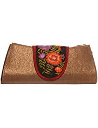 Soulful Threads Cotton Silk fabric elegant Floral Embroidery Gold Hand Clutch