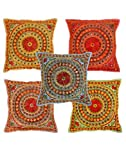 Indian Cushion Cover 16 X 16 Vintage Set of 5 Pillow Cover multi colour Indian Decorative Cotton Floral Mirror Home Décor Pillow Shams Traditional 40 X 40 Cushion cover Ethnic Pillow case Living room throw pillow By Rajrang