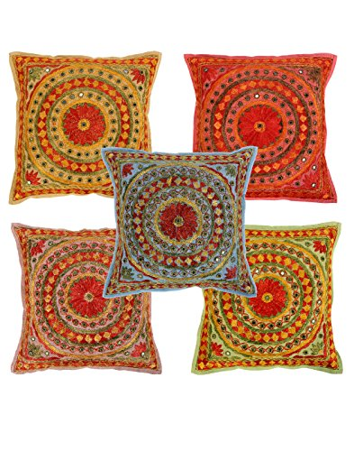 Deko blumen Baumwolle Kissenbezug spiegel Bunt Indisch Set 5 pillow case Traditional 40x40 Sofakissen Wohnzimmer Pillowcases Cushion Cover By Rajrang (Art Sofa Set Deco)