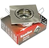Alu Decken Einbaustrahler Einbauleuchte Spot Louis Eckig (Quadratisch) mit Bajonettverschluss Farbe: Edelstahl Gebürstet 230V GU10 Fassung ideal für LED/Halogen (nicht rostend)