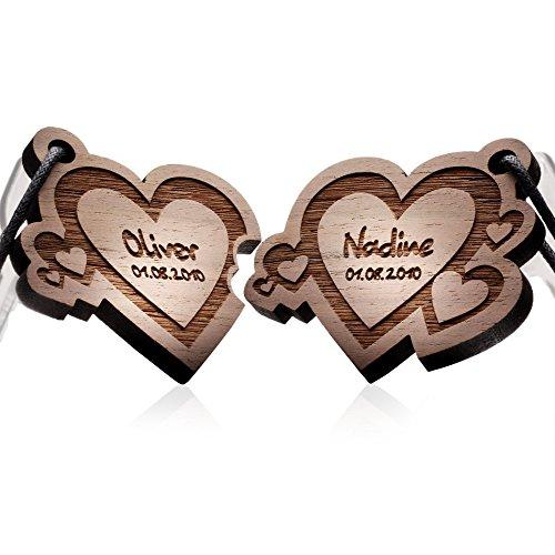 schenkYOU® HERZ 2er Set Schlüsselanhänger aus echtem Holz mit Gravur - Ihr Wunschtext + Symbol - gestalten Sie Ihren Partneranhänger - Persönliches Geschenk für Sie & Ihre Liebsten - graviert -
