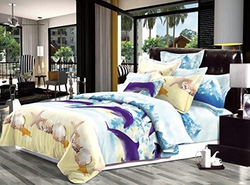 Housse de couette 3d Parure de lit avec housse de couette 3pcs Animal Fleurs de rose 55g/m² NEUF (King size, Dolphin)