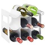 mDesign Práctico estante para botellas de vino - Botelleros para vino y otras bebidas para guardar hasta 9 unidades - Vinoteca de plástico de pie - blanco