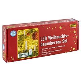Idena – Candele a LED senza fili per albero di Natale bianco caldo, altezza candele 10 cm