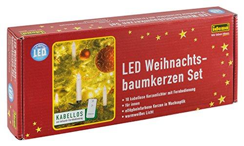 Idena 8582090 - 10 Stück LED Christbaumkerzen zum Klemmen, warm weiß, ca. 9 cm, mit Dimmer und 6 Stunden Timer Funktion, Batterie betrieben, mit Fernbedienung -