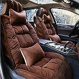 QLL 5-Sitz-Universal Autositzbezug, Atmungsaktiv Rutschfest, Winter Daunenjacke Warm Bleiben, 5 Farben Optional,Brown