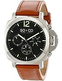 So y Co diseño de rayas de Nueva York para hombre reloj infantil de cuarzo con esfera analógica y correa de piel color marrón 5022,3