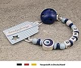Baby SCHNULLERKETTE mit NAMEN | Schnullerhalter mit Wunschnamen - Jungen Motiv Auge von Nazar in dunkelblau