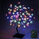 PMS 90er LED Baum 60cm Hoch Kirschbaum Lichterbaum Baum Lichterkette Weihnachten - Batterie betrieben (Bunt)
