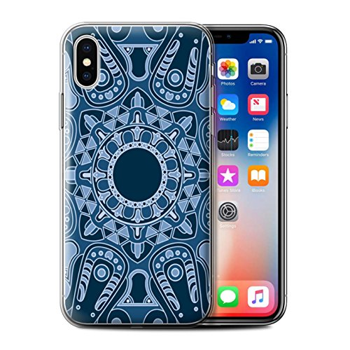 Stuff4 Gel TPU Hülle / Case für Apple iPhone X/10 / Traum/Sepia Muster / Mandala Kunst Kollektion Achteck/Blau