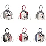 Rryilong Femmes Lady Cat Canvas Purse Draw Cordelette Wallet Coin Sac Sac à Main Porte-clés