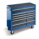 Werkstattwagen, HxBxT 1007 x 1067 x 458 mm, 11 Schubladen, blau - Schubladenrollwagen Werkzeugwagen