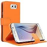 Samsung Galaxy S6 Hülle, EnGive Ledertasche Schutzhülle Case Tasche mit Standfunktion und Karte Halter Orange