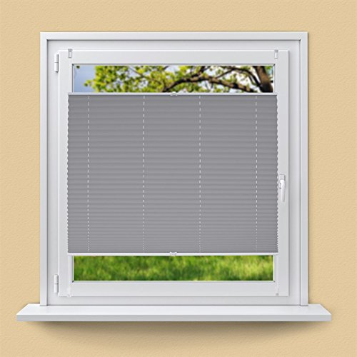 ECD Germany Plissee 55 x 200 cm Grau Klemmfix ohne Bohren für Sonnen- und Sichtschutz Weiß inkl. Befestigungsmaterial EasyFix Jalousie Verdunklungsrollo Rollo