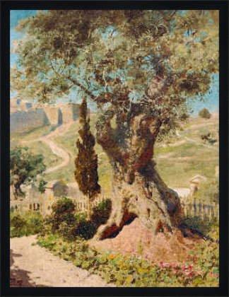 """Bild mit Rahmen: Wassili Dmitrijewitsch Polenow Wassili Dmitrijewitsch, \""""Olivenbaum im Gethsemane-Garten\"""", 53 x 70 - Holz Fortuna L: Schwarz matt"""