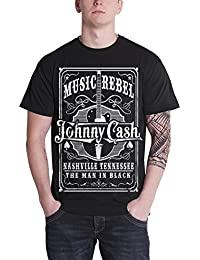 Johnny Cash T Shirt Music Rebel man in Schwarz logo Nue offiziell Herren Schwarz