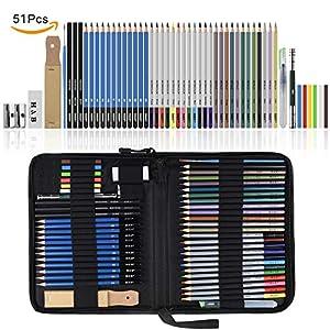 Lapices de Dibujo Artístico, Lypumso Set de Lápices Colores Profesional Bosquejo Carbón Grafito Sticks, Estuche Lápices de Color. Conjunto Ideal para Artistas, Adultos y Niños (51 piezas)