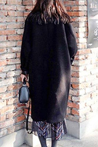Les Femmes Woolencoat Long Manche Seul Sein Midi Rétro Extérieur De La Tenue Black